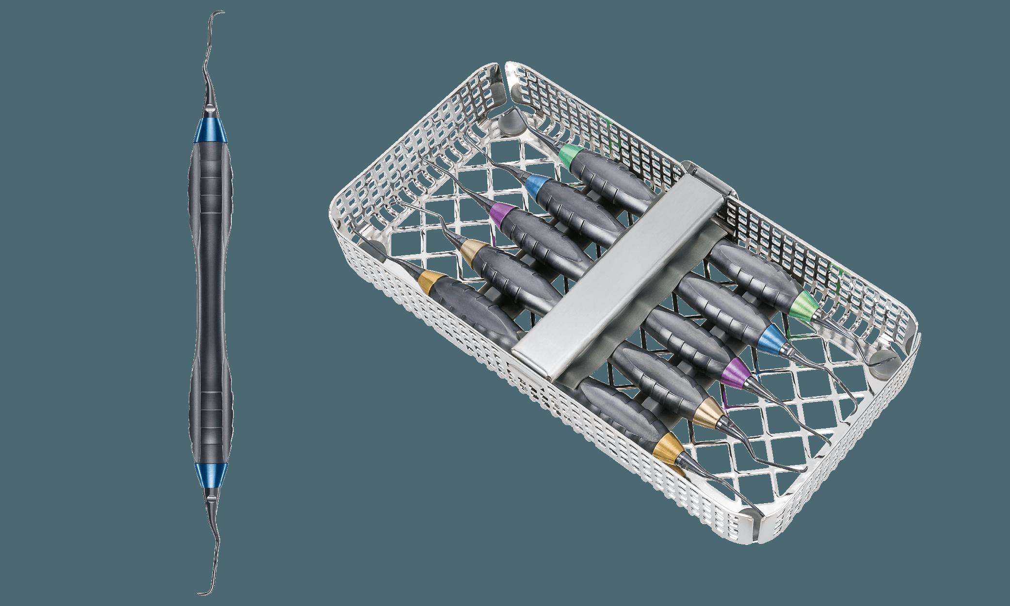 24.989.550OX cikkszámú 'M5 Deep Scaling' Prophylaxis Set univerzális Z-Shape nyelekkel (jobbra), valamint a szett egyik eszköze (balra)