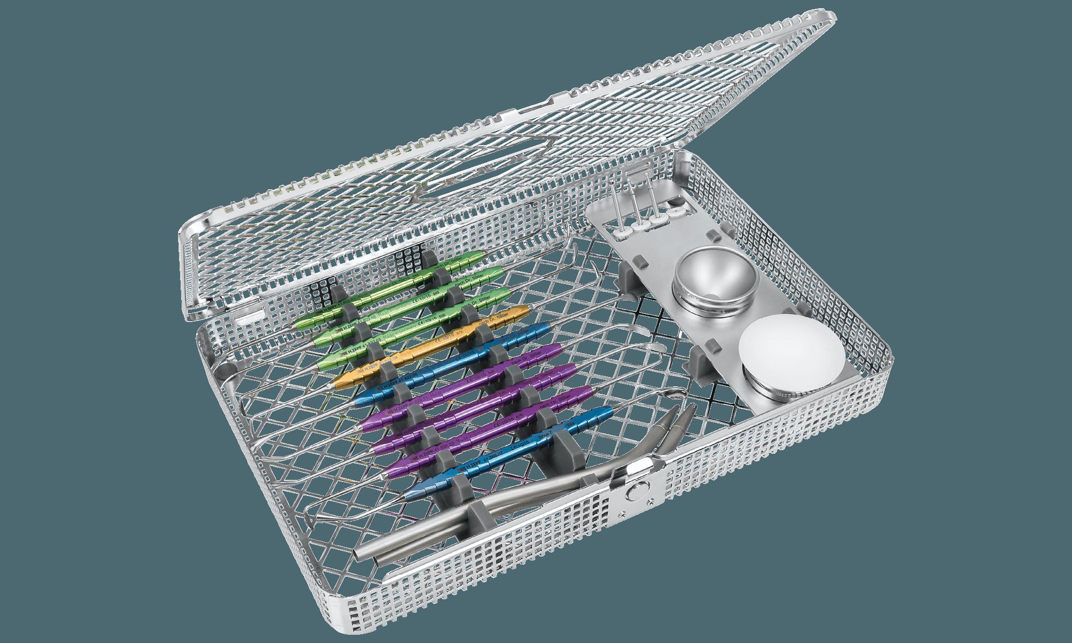 24.995.01 cikkszámú Prof. Dr. Dr. Stiller inspirációja nyomán összeállított Sinus Instrument Set