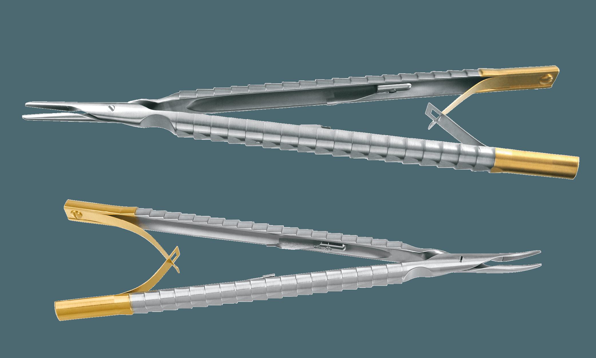 41.200.17TC cikkszámú Micro Needle Holder (felül, egyenes véggel) és 41.201.15TC cikkszámú Micro Needle Holder (alul, hajlított véggel)